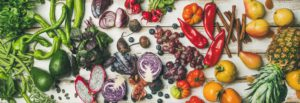 Helathy raw vegan food cooking background, top view
